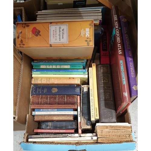 26 - A box of books together with three pictures.  No in house shipping, please collect or arrange a ship...