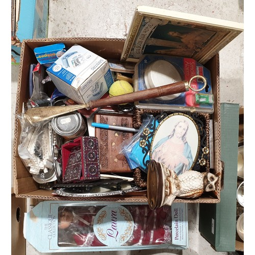 27 - A box of bric-a-brac including a doll.  No in house shipping, please collect or arrange a shipper.