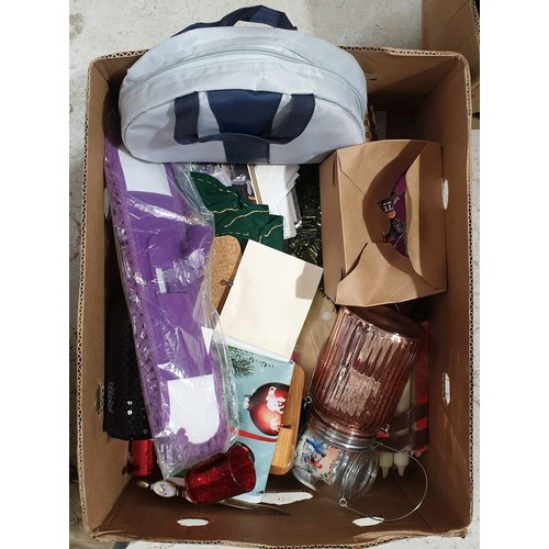 29 - A box of bric-a-brac including Christmas items.  No in house shipping, please collect or arrange a s...