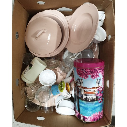 33 - A box of glass and china including Johnson's Bros. Rose Dawn.  No in house shipping, please collect ...