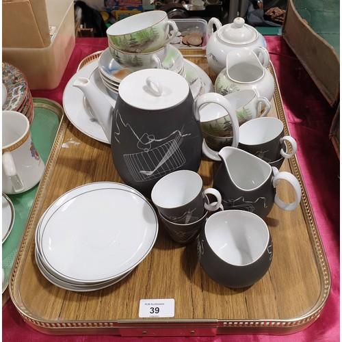 39 - A retro Johann Haviland coffee service together with a Japanese part coffee service with geisha lith...