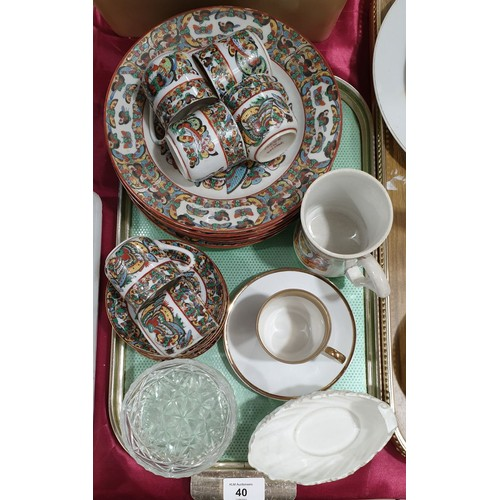 40 - Chinese eggshell porcelain ceramics, two Coalport dishes and other ceramics.  No in house shipping, ...