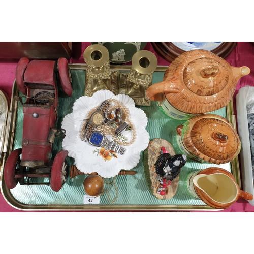 43 - A tray of assorted including Regency Fine Arts model, Burlington tea ware.  No in house shipping, pl...