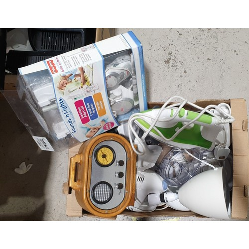 49 - A box of electricals.  No in house shipping, please collect or arrange a shipper.