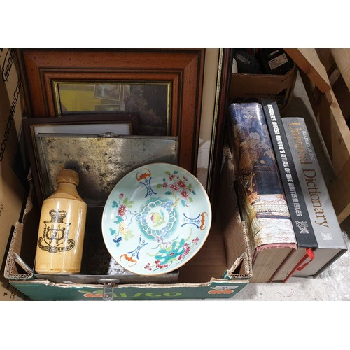 51 - An antique export plate, stone ware bottle, pictures and books.  No in house shipping, please collec...