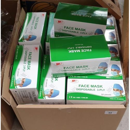 54 - Twenty boxes of fifty face masks.