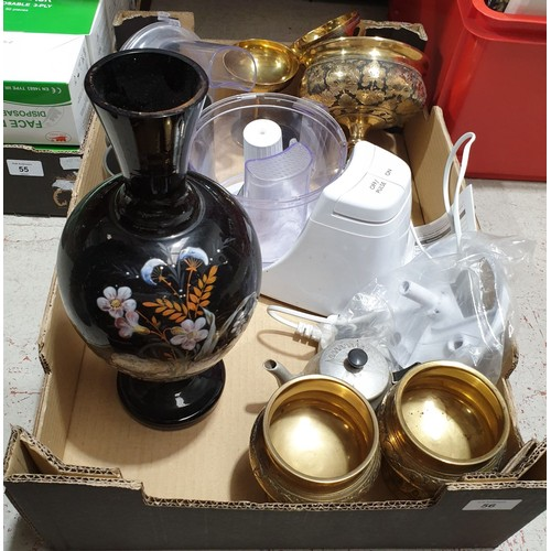 56 - A box including a hand painted glass vase.  No in house shipping, please collect or arrange a shippe...