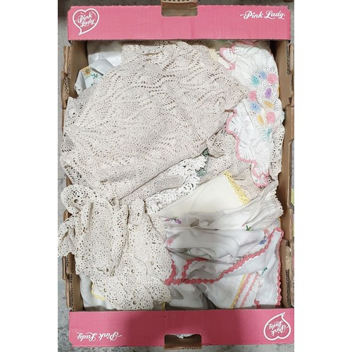 58 - A box of linens.  No in house shipping, please collect or arrange a shipper.