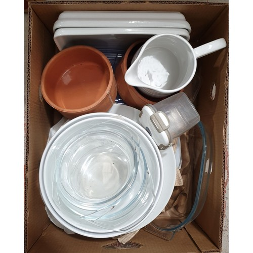 15 - A box of kitchen glass and ceramics.  No in house shipping, please collect or arrange a shipper.