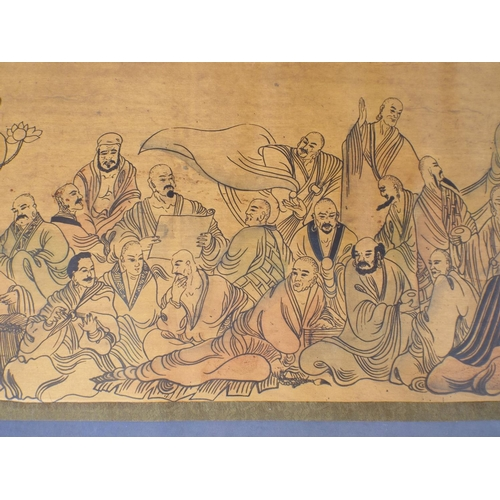 1 - Chinese scroll, 11ft long depicting monks, warriors & elders...