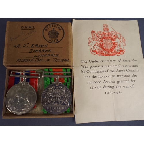 11 - 1939/45 defence medal & Victory Medal in mint condition with original box. Issued to J Brown (Army)...