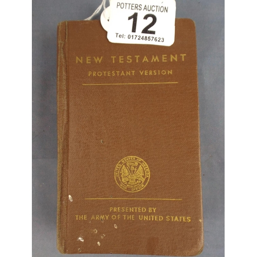 12 - American soldiers pocket Bible issued March 1941...