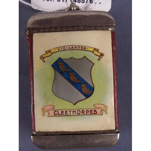 17 - Turn of the Century white metal & enamel vesta with Cleethorpes crest , Picture of Winter Gardens to...
