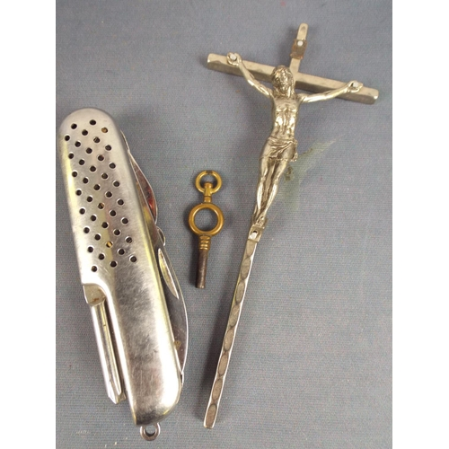 18 - Mixed lot comprising white metal italian crucifix, small pocket watch key & Stainless steel multibla...