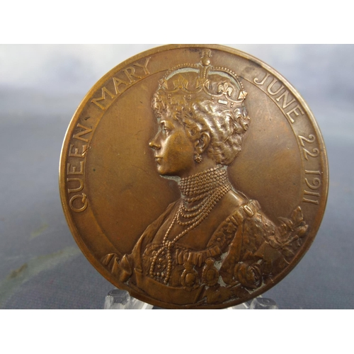 26 - Solid Bronze George & Mary Coronation Medallion 1911...