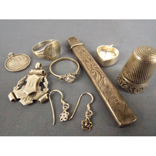 33 - Small Items of Hallmarked silver to include, thimble, pencil, rings & fob...