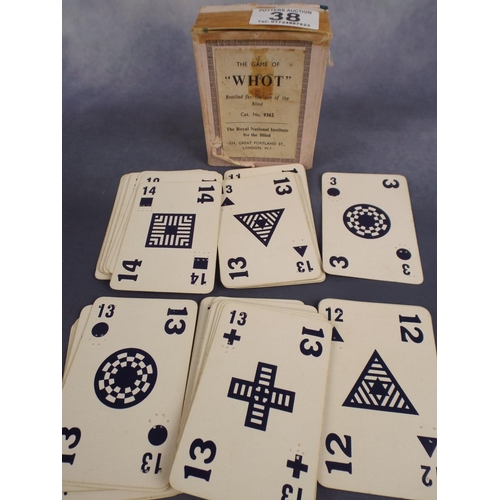 38 - Packet of 'Whot' vintage  braille playing cards...