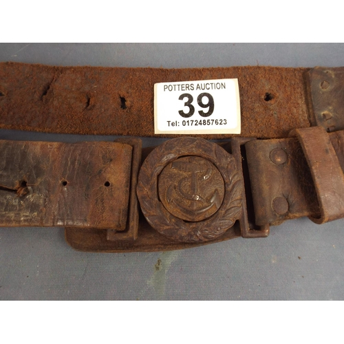39 - Very old naval belt with Anchor Buckle...