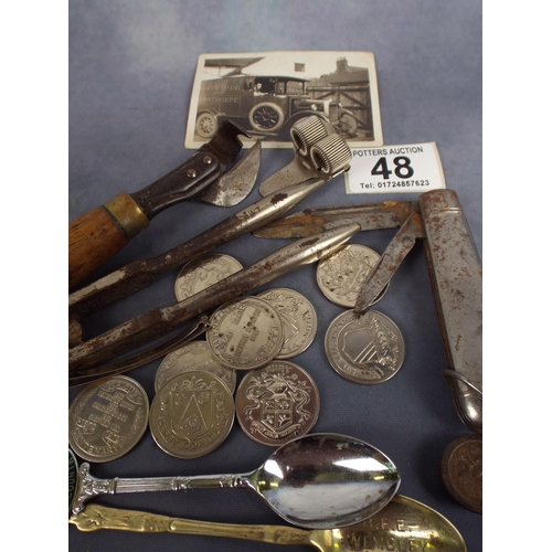 48 - interesting mixed lot comprising penkife, coins, etc plus old scunthorpe interest photo...