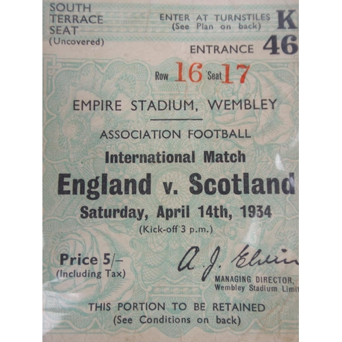 51 - Wembly International match ticket, England v Scotland, Aril 14th 1934...