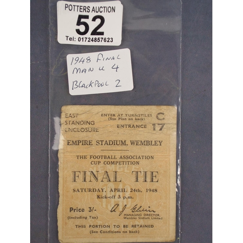 52 - Wembly FA Cup final ticket, Manchester United v Blackpool, 1948...