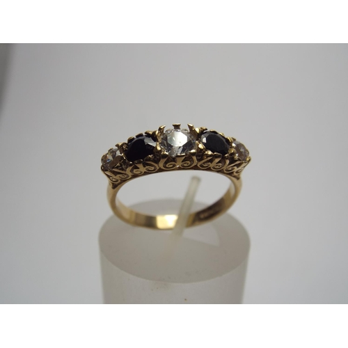 57 - 9ct gold vintage style stone set ring. 3.2g finger size 'P'...