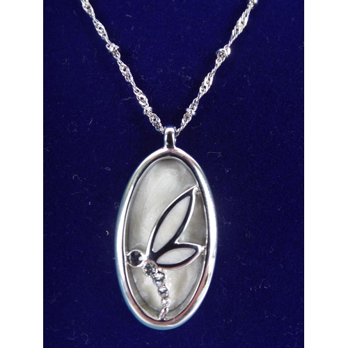 66 - Costume jewellery necklace with dragonfly pendant with original retail presentation box...