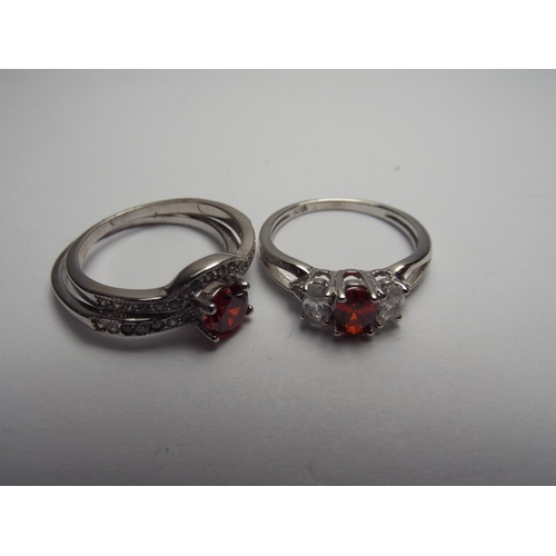 68 - Two 925 silver, stone set rings...