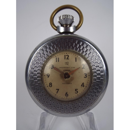 75 - Ingersol Pocket watch with white metal case in working order...