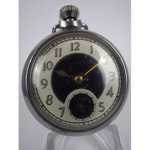 76 - steel case pocket watch with crown wind, working order...