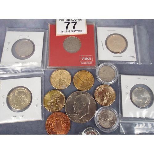 77 - Assortment of United States golden and Silver dollars plus other US coins, (no gold content)...
