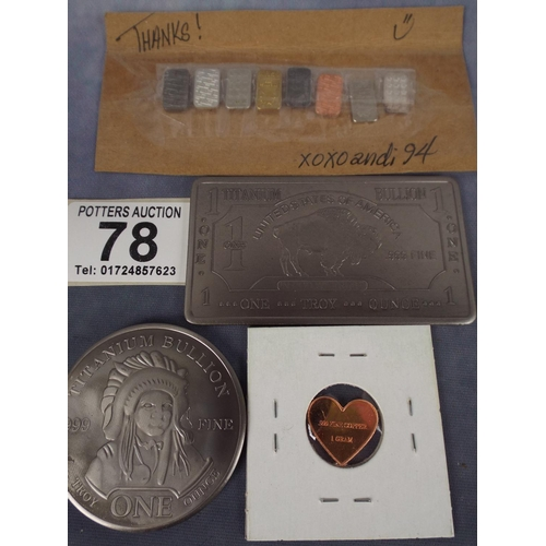 78 - Titanium troy ounce ingot & coin plus other metal samples on card...