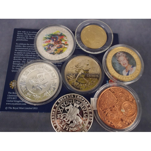 79 - Mint UK £5 coin plus other coins including solid copper, chinese, & knights templar crown...