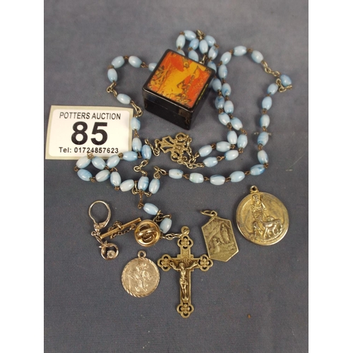 85 - small rosary with Crucifix with various st christopher medals...