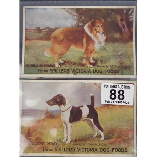 88 - Two vintage spillers Victoria Dog food post cards...