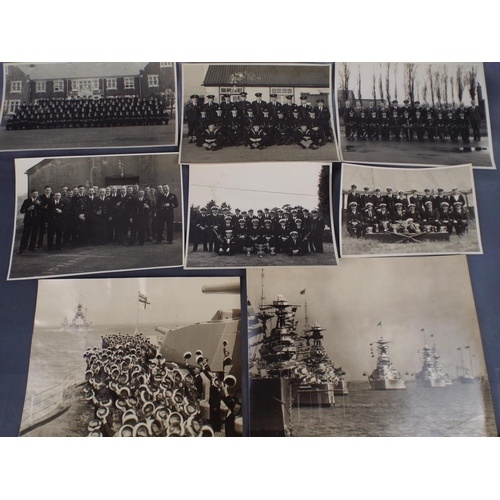 89 - Selection of 1935 Royal Navy Photographs along with confidential Naval telegram dated 1943...