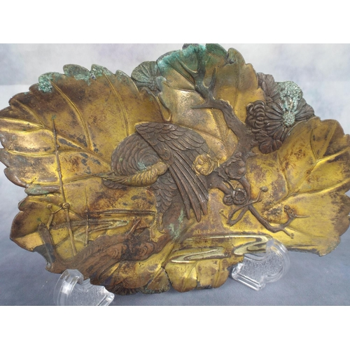 102 - Pure Copper plate with bird of prey in relief...