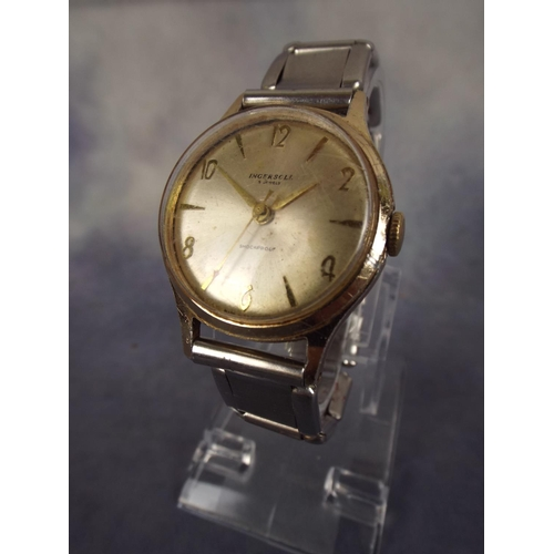 112 - Ingersol 5 jewel mechanical watch with expanding metal strap, working order...