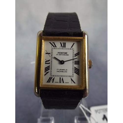 115 - mechanical swiss watch, 17 jewel incabloc leather strap, working order...