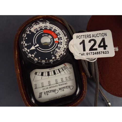 124 - Vintage exposure meter with leather case...