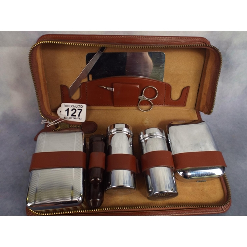 127 - Gentlemans grooming kit with leather case & chrome brushes etc...