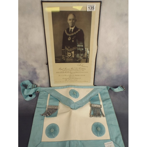 135 - Masonic framed photograph of lodge master together with masonic apron...
