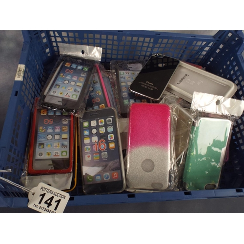 141 - Tray of mobile phone cases...
