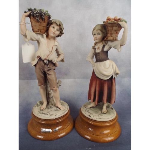 144 - Pair of capo-di-monte figures on polished wooden bases...