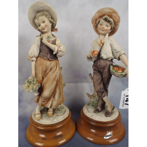147 - Pair of capo-di-monte figures on polished wooden bases...