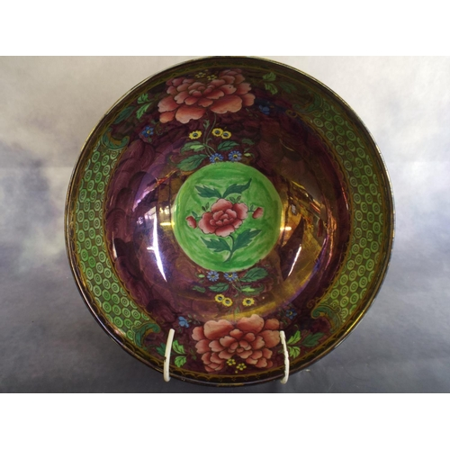 157 - Maling lustre bowl with peony pattern in excellent order...