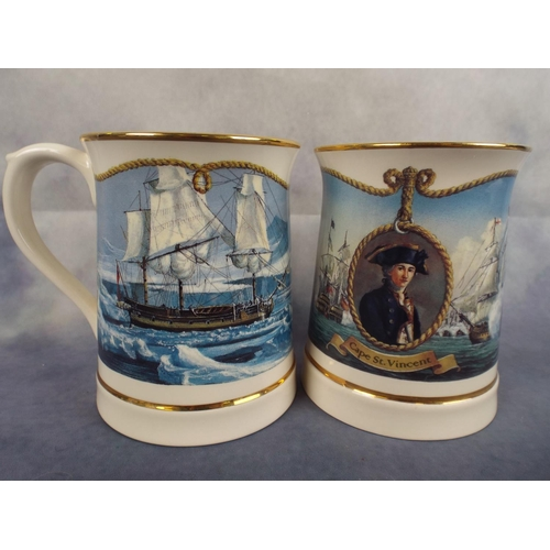165 - Two large Wedgewood tankards depicting Lord Nelson...