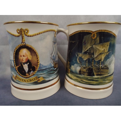 167 - Two Danbury Mint large commemorative tankards depicting lord Nelson...