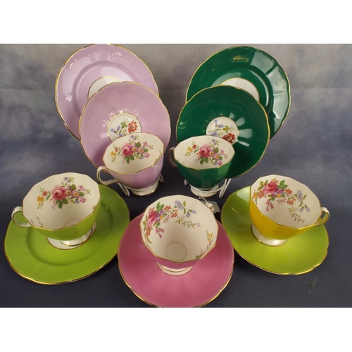 172 - Set of Six Royal Adderley cups & saucers in floral Harlequin Pattern....