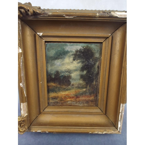 175 - Untitled small oil painting with heavy frame. Origial framers lable to rear...